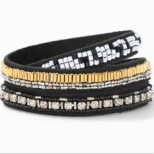Stella Dot black beaded wrap bracelet with box